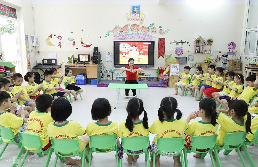 Học sinh mầm non tại Hà Nội. Ảnh: Ngọc Thành