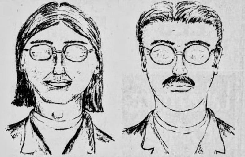 Phác họa chân dung hai người đàn ông theo trí nhớ của Justin. Ảnh: Public Domain.