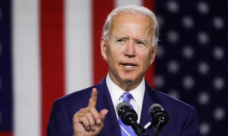 Ứng viên tổng thống đảng Dân chủ Joe Biden phát biểu tại một sự kiện vận động tranh cử ở Wilmington, Delaware, ngày 14/7. Ảnh: Reuters.