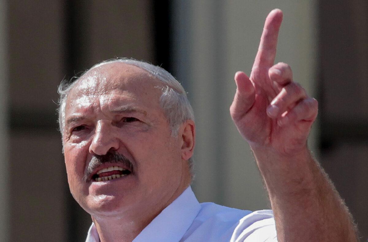 Tổng thống Belarus tại Minsk ngày 16/8. Ảnh: AFP.