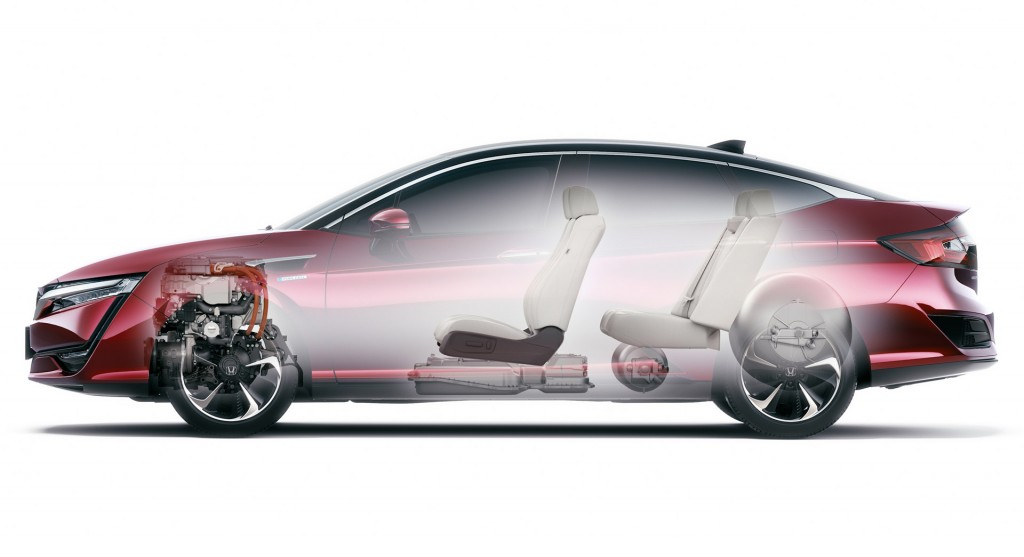 Cấu tạo cơ bản của Honda Clarity với bình nén hybro ở ghế sau, pin nhiên liệu dưới ghế trước và môtơ vẫn ở dưới nắp ca-pô.