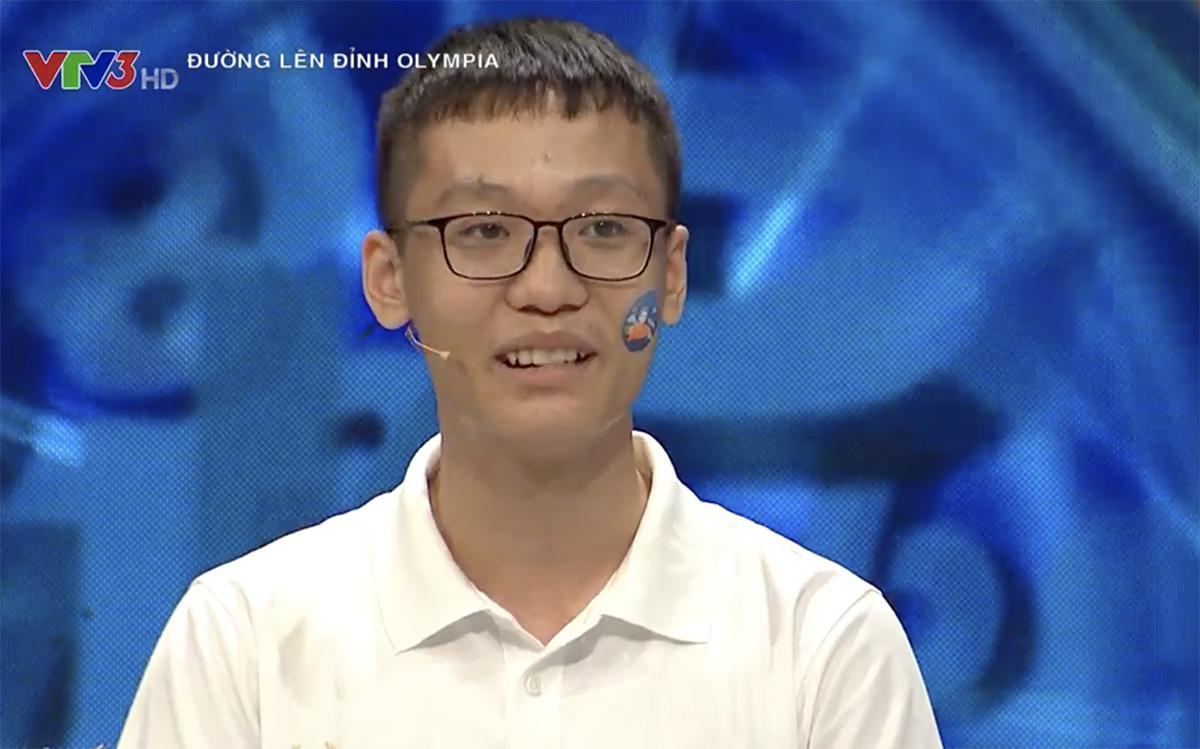 Lưu Đào Dũng Trí ở phần thi Khởi động. Ảnh: VTV3.
