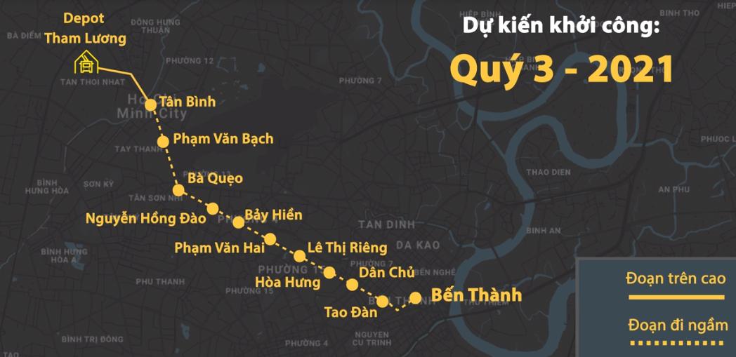 Sơ đồ tuyến Metro Số 2. Ảnh: Thanh Huyền.