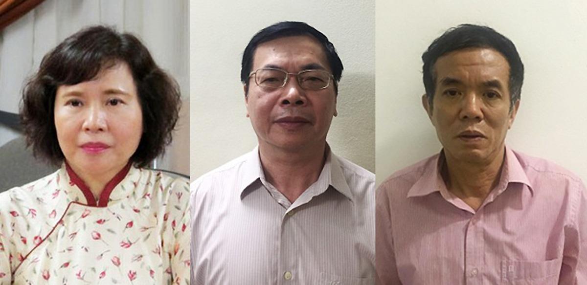 Nguyên thứ trưởng Bộ Công thương Hồ Thị Kim Thoa (trái), ông Vũ Huy Hoàng (giữa) và Phan Chí Dũng tại cơ quan điều tra. Ảnh:Bộ Công an.