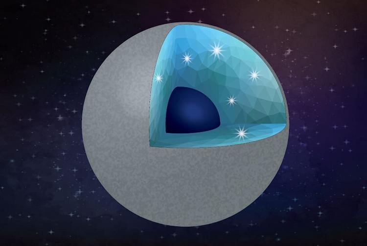 Mô phỏng hành tinh giàu carbon chứa hàm lượng kim cương cao bên trong. Ảnh: AShim/ASU.