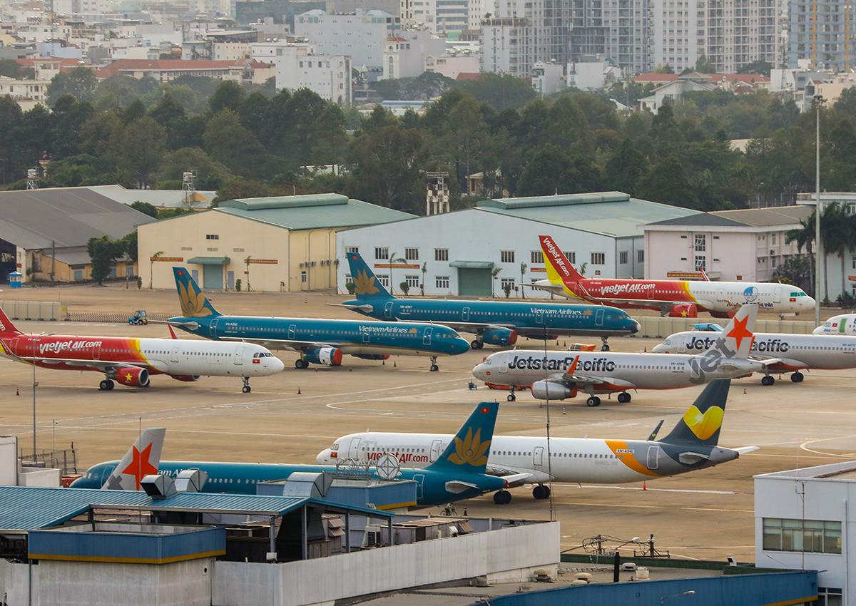 Máy bay đỗ tại sân bay Tân Sơn Nhất trong thời điểm tháng 3 khi dịch Covid-19 bùng phát. Ảnh: Quỳnh Trần