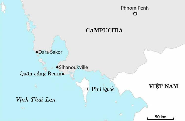 Vị trí sân bay Dara Sakor và quân cảng Ream ở tây nam Campuchia. Đồ họa: GIS.