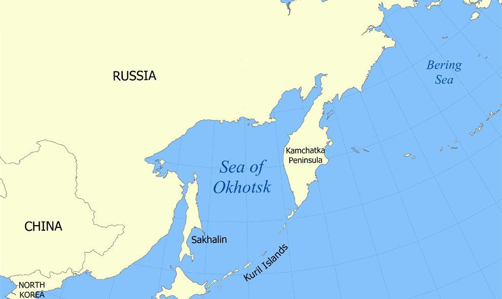 Vị trí biển Okhotsk và biển Bering. Đồ họa: Wikipedia.