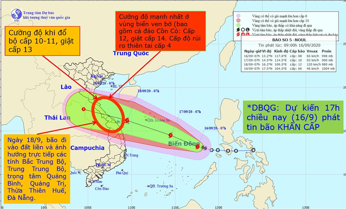 Hướng di chuyển của bão số 5. Ảnh: NCHMF.
