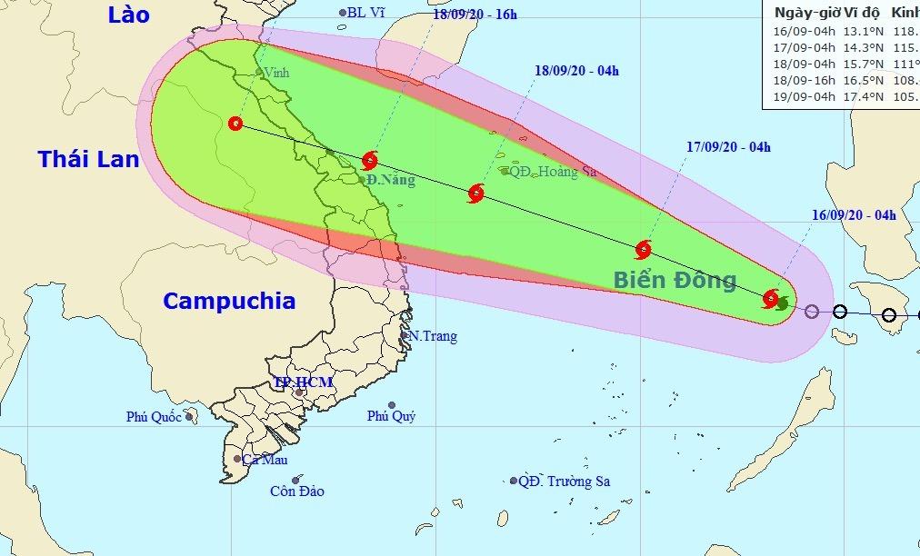 Dự báo đường đi và vùng ảnh hưởng của bão Noul. Ảnh: NCHMF.