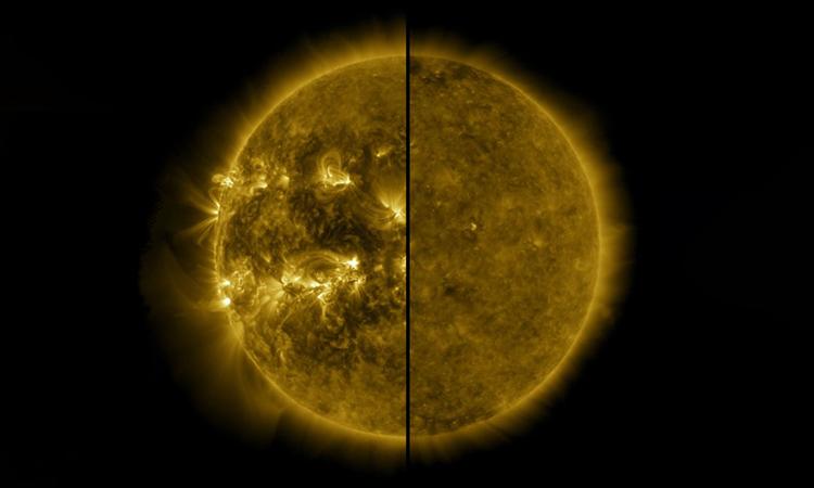 Hình ảnh so sánh Mặt Trời cực đại (tháng 4/2014) và Mặt Trời cực tiểu (tháng 12/2019). Ảnh: NASA.