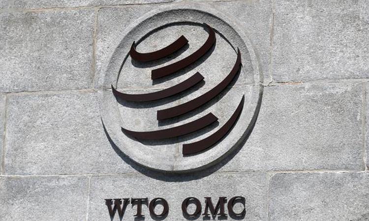 Logo WTO tại trụ sở của tổ chức ở Geneva, Thụy Sĩ hồi tháng 6. Ảnh: Reuters.