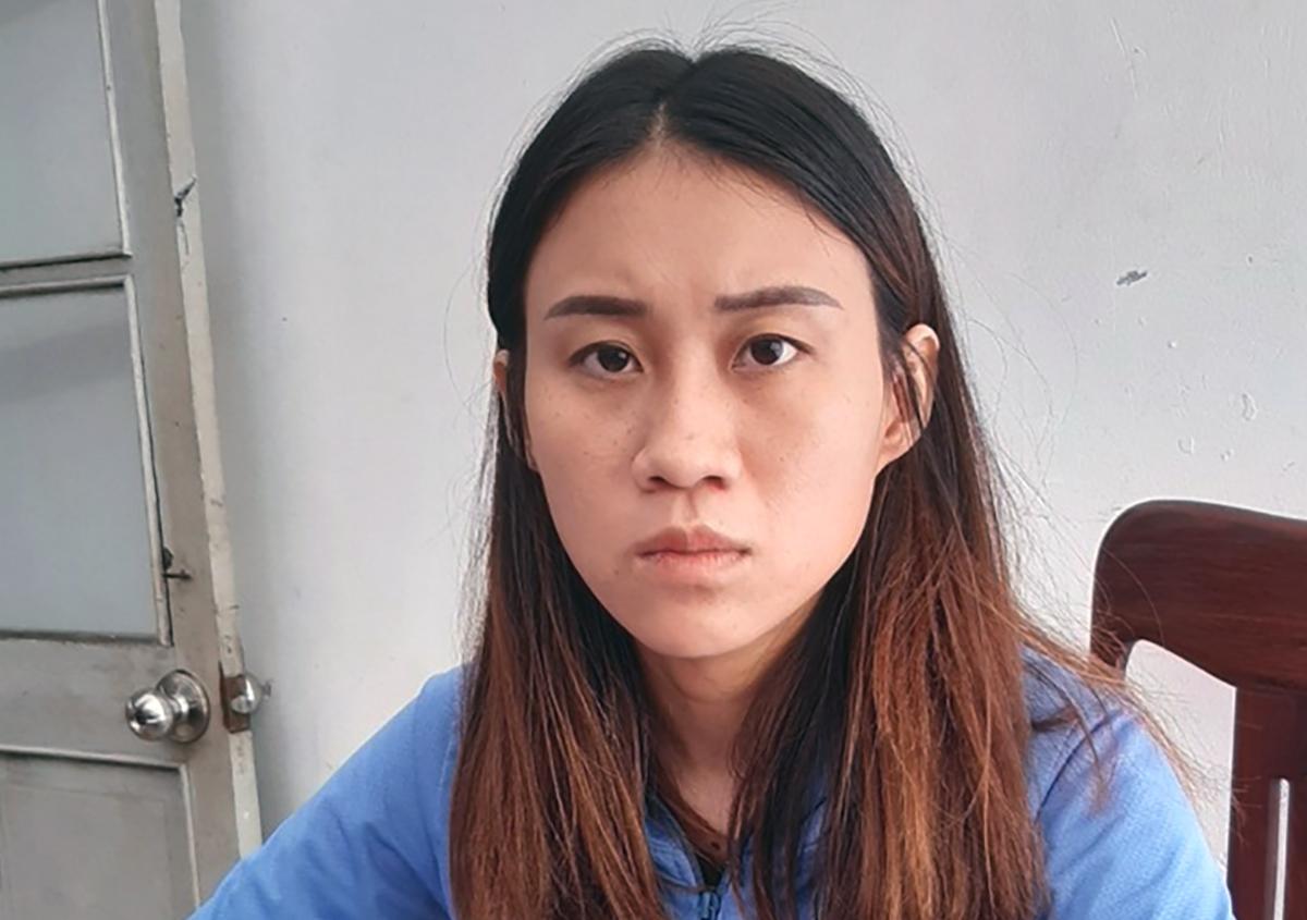 Nguyễn Thị Tuyết Quyền tại cơ quan điều tra. Ảnh: Công an cung cấp.
