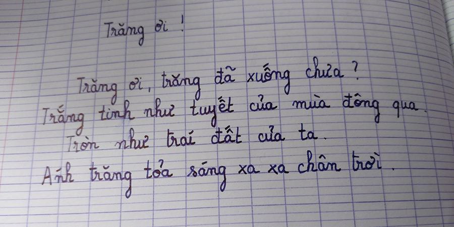 Bài thơ lục bát do Khánh Ngọc (12 tuổi, Pháp) làm. Ảnh: Thế Dương.