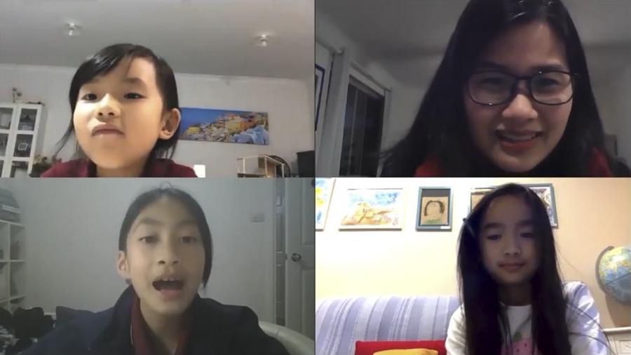 Một buổi học tiếng Việt trực tuyến qua Zoom của trẻ Việt Nam ở nước ngoài. Ảnh: Thế Dương.