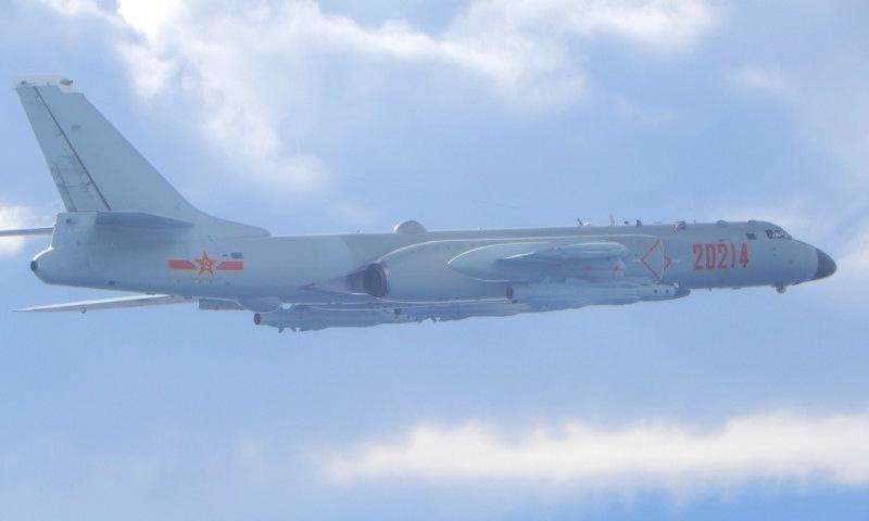 [Oanh tạc cơ H-6 Trung Quốc áp sát đảo Đài Loan sáng 18/9. Ảnh: Lực lượng phòng vệ Đài Loan.