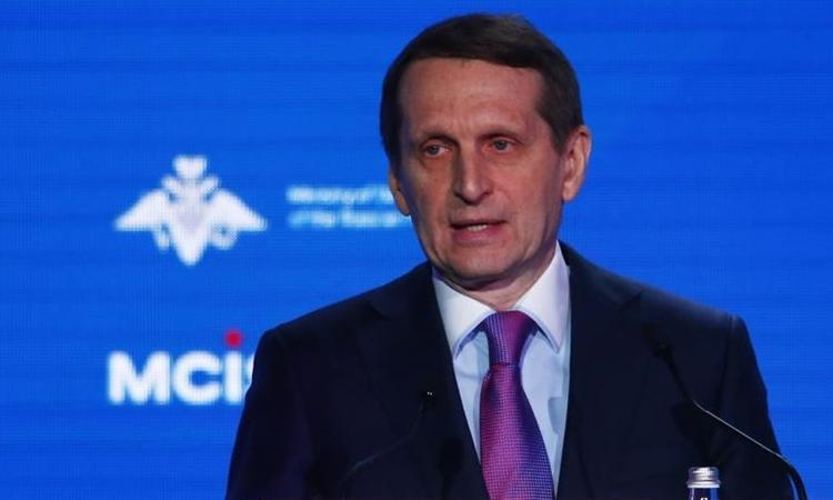 Lãnh đạo Cơ quan Tình báo Nước ngoài Nga Sergey Naryshkin tại cuộc họp ở Moskva hồi tháng 4/2018. Ảnh: Reuters.