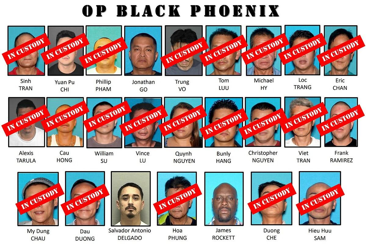 25 nghi phạm bị liệt kê trong chiến dịch Phượng hoàng Đen với cáo buộc buôn lậu súng và ma túy. Ảnh: FBI.