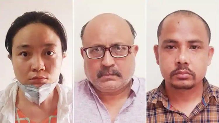 Từ trái qua phải: Qing Shi, nhà báo tự do Rajeev Sharma và Sher Singh, ba người bị cảnh sát Ấn Độ bắt đầu tuần này vì cáo buộc bán thông tin mật. Ảnh: Cảnh sát New Delhi.