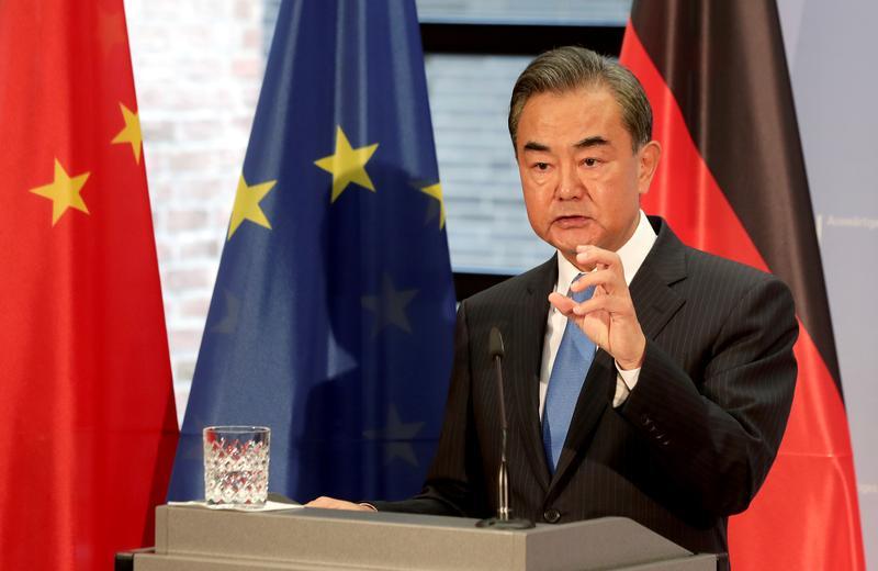 Ngoại trưởng Trung Quốc Vương Nghị tại Berlin, Đức ngày 1/9. Ảnh: Reuters.