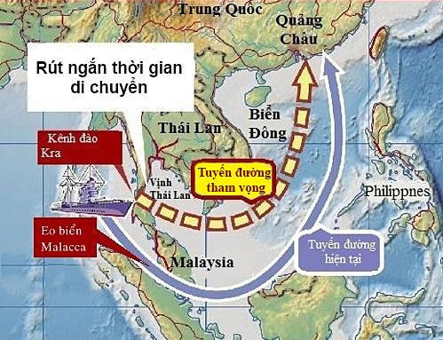 So sánh tuyến đường qua Eo biển Malacca với ý tưởng về Kênh đào Kra. Đồ họa: Ifeng.