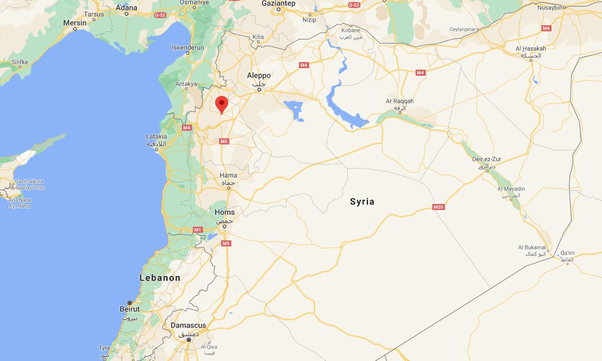 Vị trí thành phố Idlib (đánh dấu đỏ) của Syria. Đồ họa: Google.