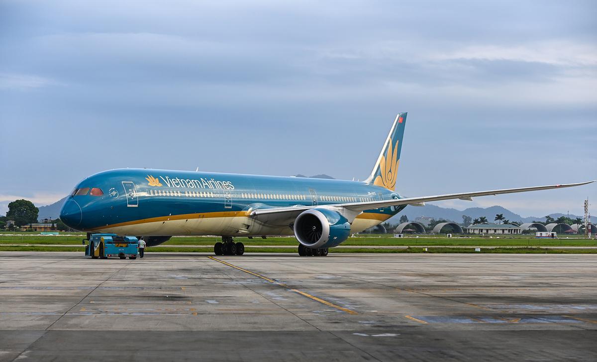 Chuyến bay quốc tế đầu tiên Nội Bài - Narita (Tokyo) được khai thác trở lại sau 6 tháng tạm dừng vì Covid-19, ngày 19/9. Ảnh: Giang Huy