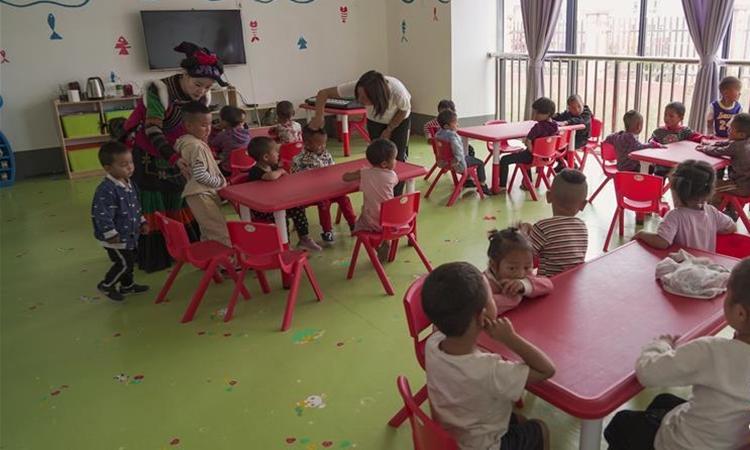 Một lớp học mẫu giáo ở khu tái định cư Ganen hôm 28/8. Ảnh: Xinhua.