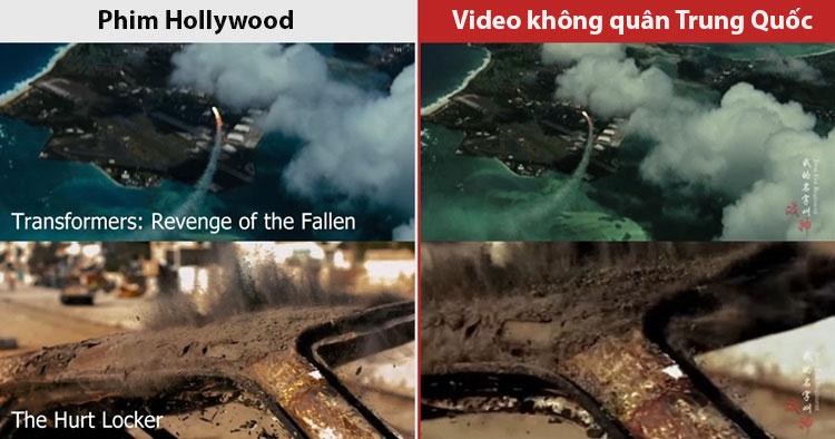 Ảnh so sánh cảnh quay phim Hollywood (trái) với video của không quân Trung Quốc do người dùng mạng xã hội chỉ ra. Ảnh: Apple Daily.