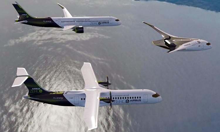 Concept ba mẫu máy bay chạy bằng hydro của Airbus. Ảnh: AFP.