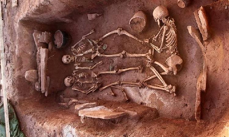 Hài cốt của hai vợ chồng chiến binh và người hầu của họ cùng các đồ mai táng trong mộ. Ảnh: Archeology NSU.