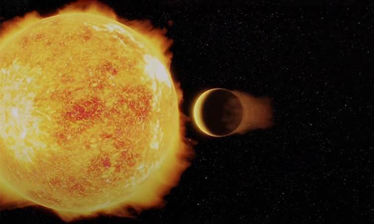 Đồ họa mô phỏng ngoại hành tinh LTT 9779 b. Ảnh: Ricardo Ramirez.