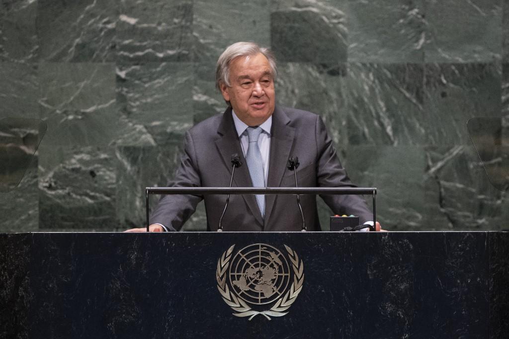 Tổng thư ký Liên Hợp Quốc Antonio Guterres trong kỳ họp thứ 75 của Đại hội đồng LHQ tại thành phố New York, Mỹ, hôm 22/9. Ảnh: AFP.