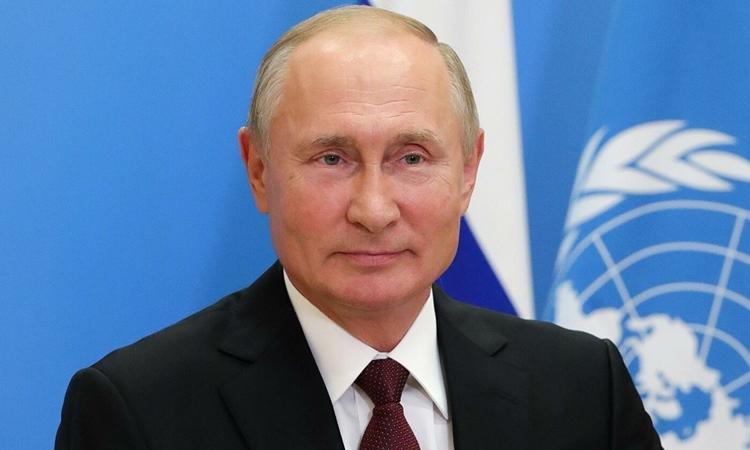 Tổng thống Nga Vladimir Putin tham gia cuộc họp trực tuyến của Liên Hợp Quốc từ Moskva hôm 22/9. Ảnh: AFP.