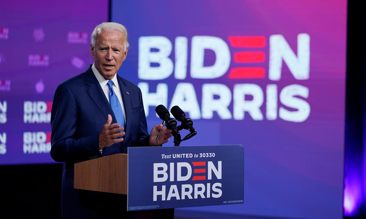 Ứng viên Dân chủ Joe Biden tại sự kiện ở thành phố Wilmington, bang Delaware hôm 2/9. Ảnh: AP.