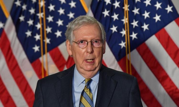 Lãnh đạo phe Cộng hòa tại Thượng viện Mitch McConnell tại cuộc họp báo ở quốc hội hôm 22/9. Ảnh: AFP.