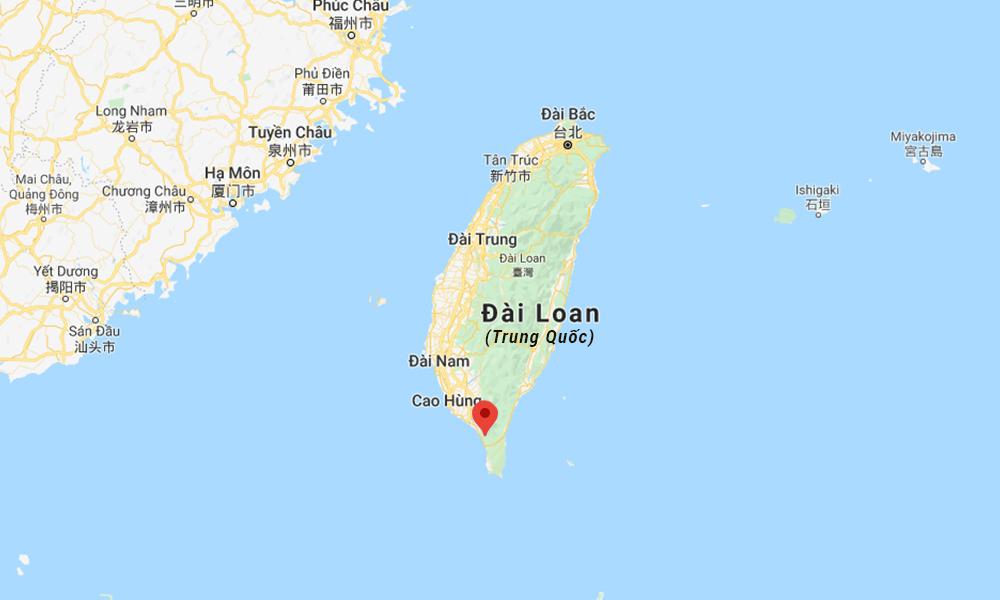 Vị trí huyện Bình Đông trên đảo Đài Loan, Trung Quốc (đánh dấu đỏ). Đồ họa: Google.