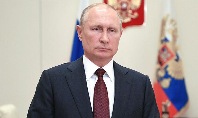 Tổng thống Vladimir Putin tại lễ kỷ niệm Ngày Biên phòng Nga được tổ chức trực tuyến, ngày 28/5. Ảnh: RIA Novosti.