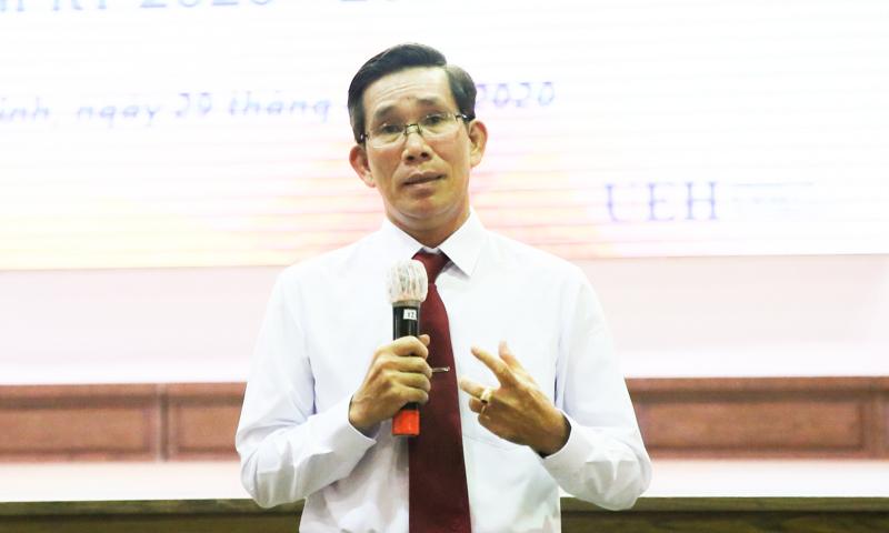 Ông Sử Đình Thành tại hội nghị thực hiện quy trình bổ nhiệm Hiệu trưởng Đại học Kinh tế TP HCM ngày 29/8. Ảnh: Dương Trang.
