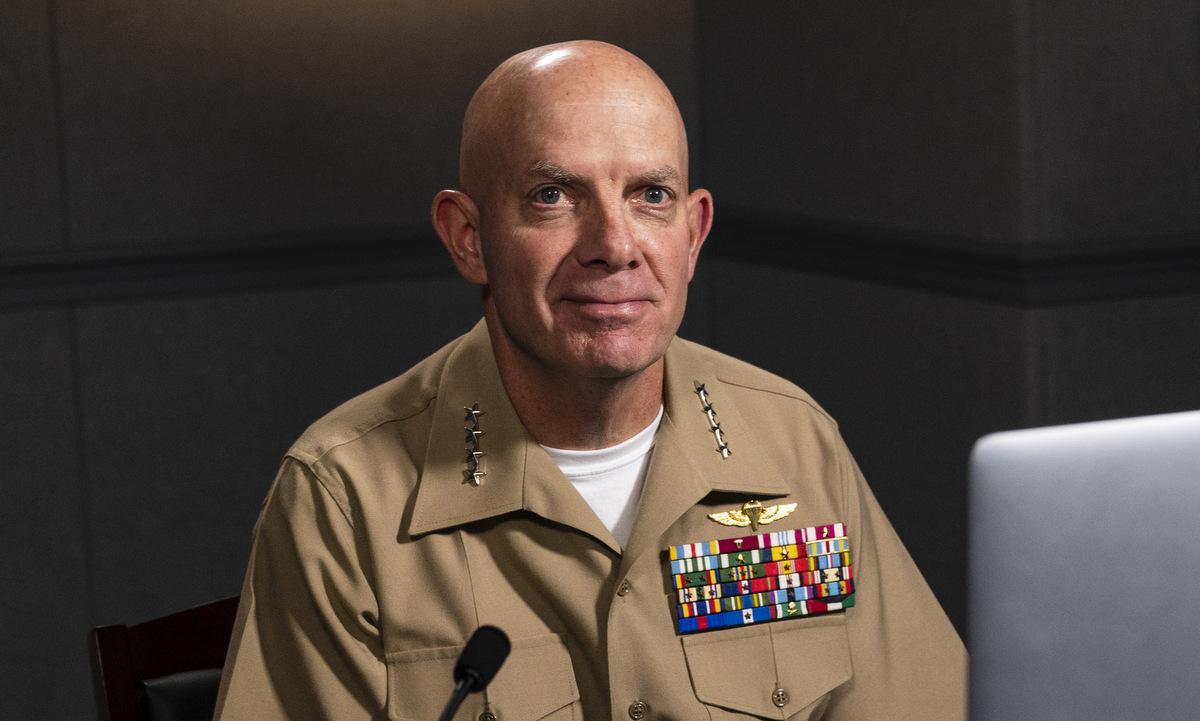 Tướng Berger tham gia hội thảo trực tuyến của thủy quân lục chiến Mỹ hôm 23/9. Ảnh: USMC.