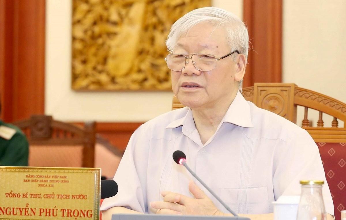 Tổng bí thư, Chủ tịch nước Nguyễn Phú Trọng chủ trì buổi làm việc của tập thể Bộ Chính trị với Ban Thường vụ Đảng uỷ Công an Trung ương. Ảnh: TTXVN