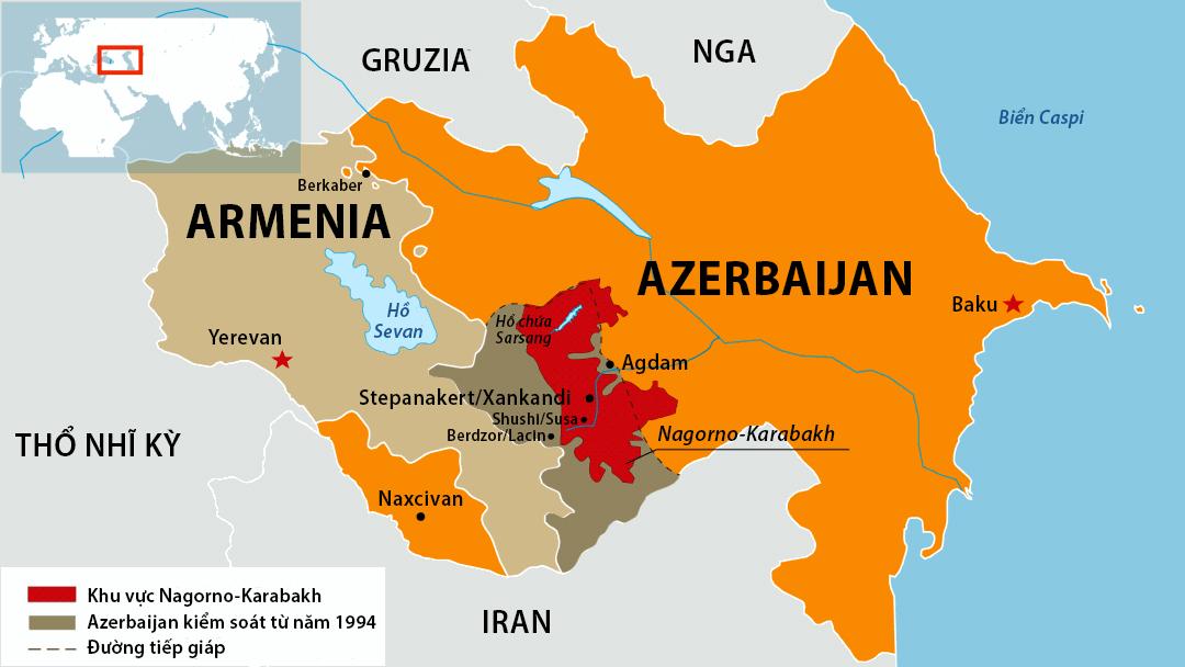 Vị trí vùng Nagorno-Karabakh. Đồ họa: SETA.