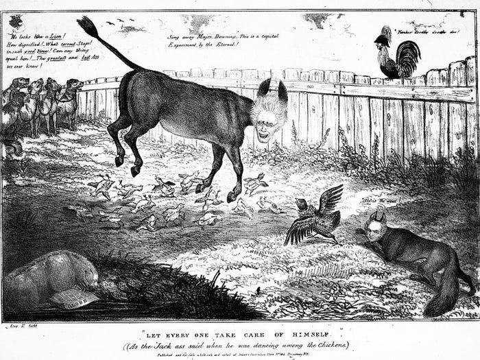 Tranh biếm họa Hãy để mọi người tự lo năm 1833. Ảnh: Anthony Imbert.