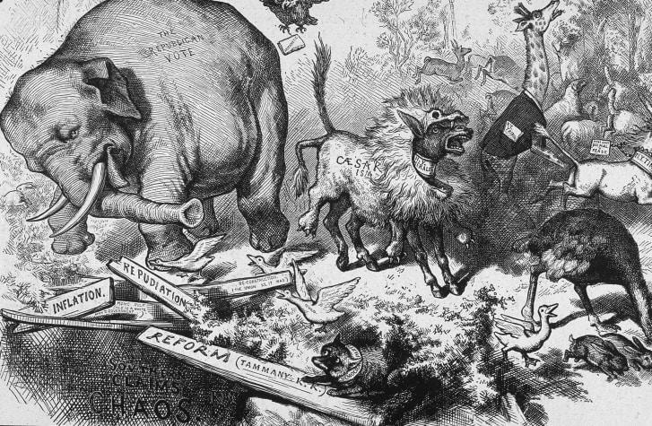 Tranh biếm họa Cơn hoảng loạn nhiệm kỳ ba năm 1874. Ảnh: Thomas Nast.