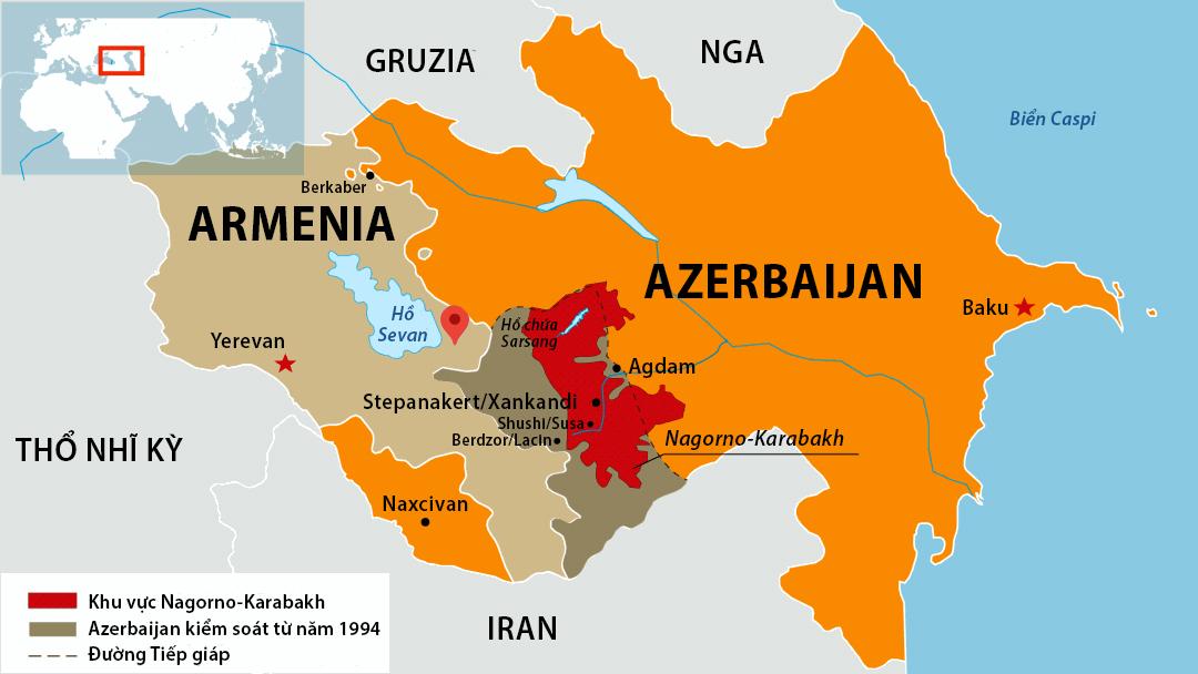 Vùng Nagorno-Karabakh đang tranh chấp giữa Armenia và Azerbaijan. Đồ họa: SETI.