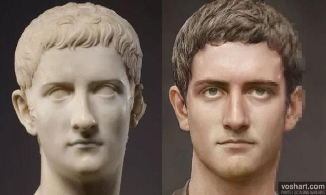 Gương mặt của hoàng đế Caligula do AI phục dựng. Ảnh: Daniel Voshart.