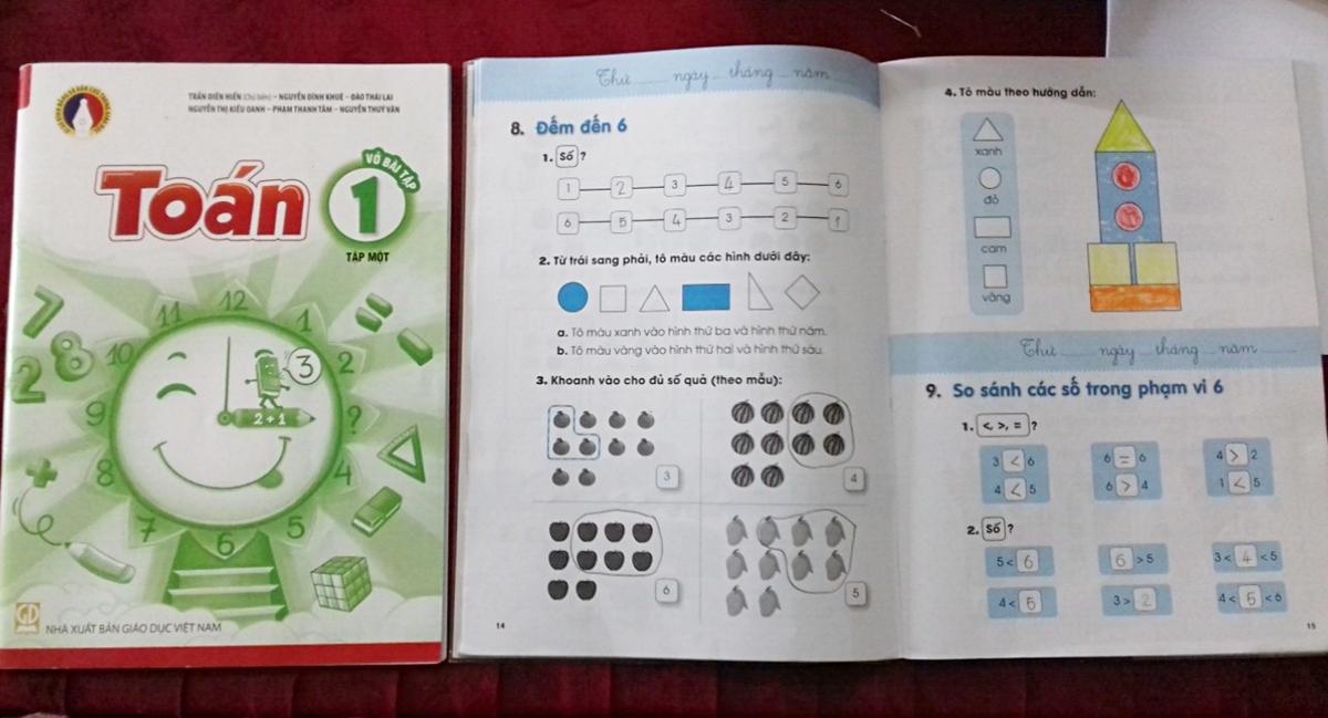 Sách giáo khoa Toán lớp 1 tập một thuộc bộ Vì sự bình đẳng và dân chủ trong giáo dục. Ảnh: Quỳnh Chi