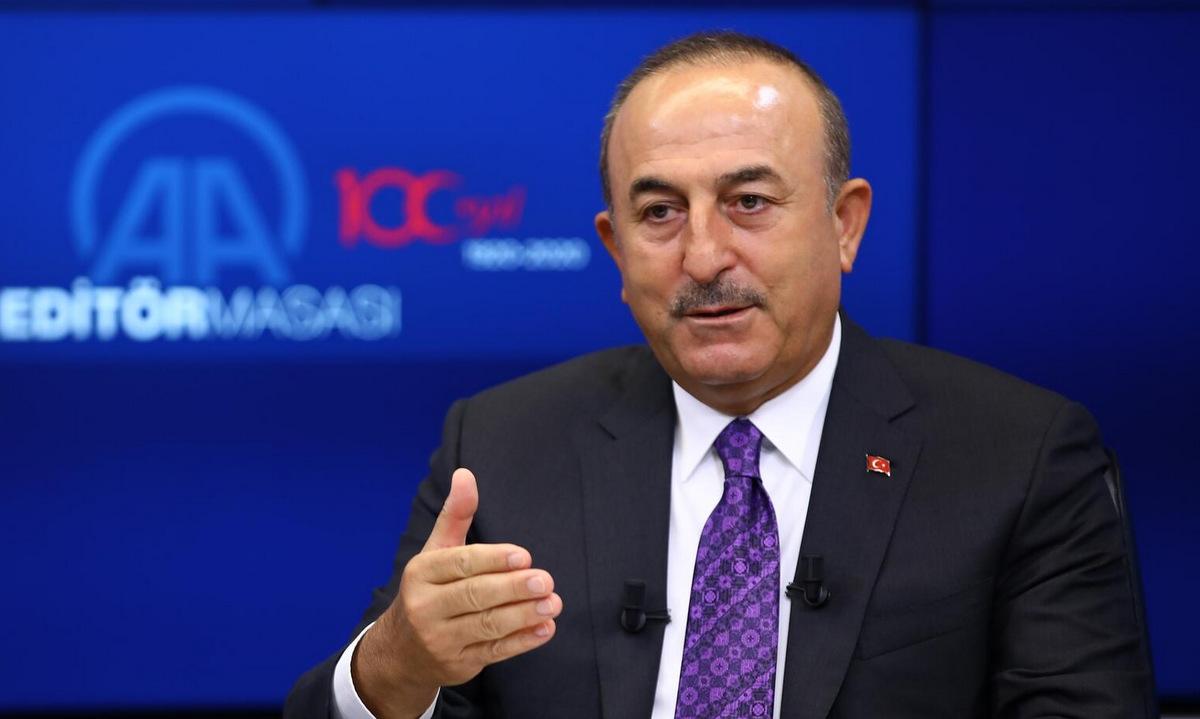Ngoại trưởng Cavusoglu trong cuộc phỏng vấn ngày 30/9. Ảnh: Anadolu.