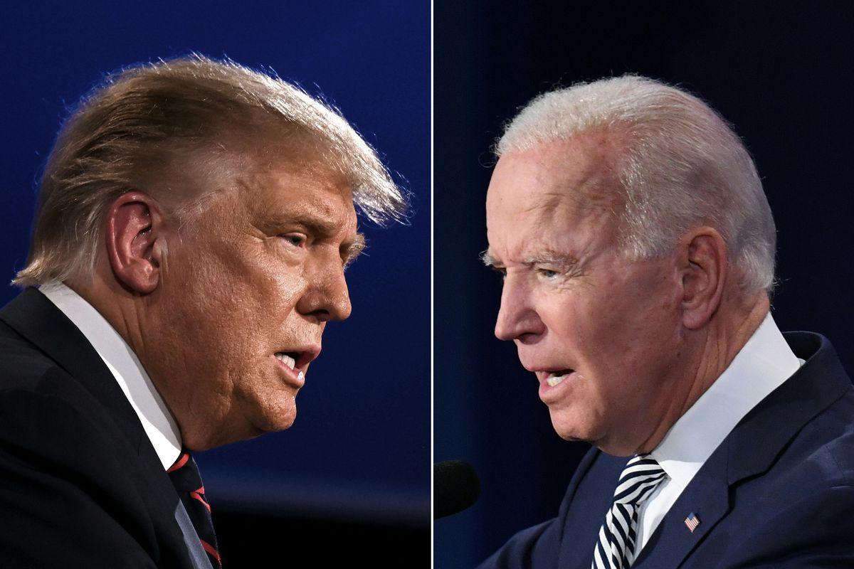 Tổng thống Trump (trái) và ứng viên đảng Dân chủ Joe Biden tại cuộc tranh luận ở Ohio ngày 29/9. Ảnh: Reuters.