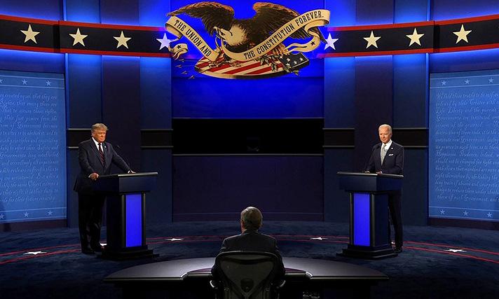 Trump (trái) chuẩn bị tranh luận với Biden (phải). Ảnh: CNN.